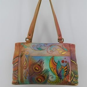 Anushka hand painted tan leather shoulder bag